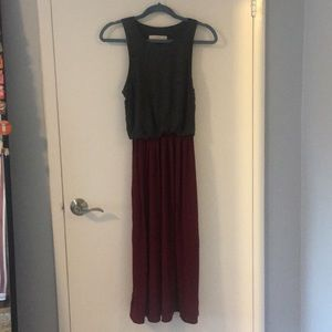Silky maroon dress with gray top
